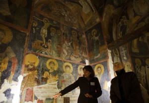 US Secretary of State Hillary Clinton (R) tours on February 5, 2012 the Boyana Church, a UNESCO World Heritage site, with guide Snezhana Parvanova in Sofia. AFP PHOTO /Jim WATSON (Photo credit should read JIM WATSON/AFP/Getty Images)