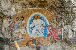 OSTROG, MONTENEGRO - JUNE 21, 2017: Mosaics in Ostrog monastery, Montenegro. Ostrog monastery is the most popular pilgrimage place in Montenegro.